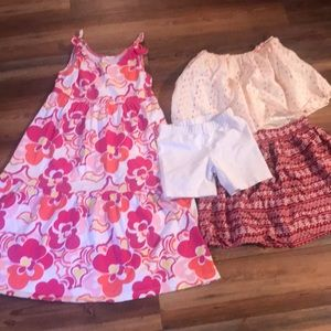 BUNDLE of Girl's Dress, 2 Skirts & Bloomers! 7/8